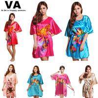 Plus Size Fashion Loose Sleep Dress Rayon Silk O Neck Print Women Nightgowns Satin Sleepwear Indoor Clothing Nighties W00494