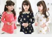 New 2015 Children Star Printed Dress Korean Cute Girls Casual Dresses Kids Gold Korean Clothing Casual Girl Clothing 4651