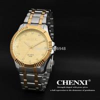 New CHENXI golden Men watch rhinestone inside Stainless Steel Strap Quartz Analog watch Dropship relogio masculino Sports watch