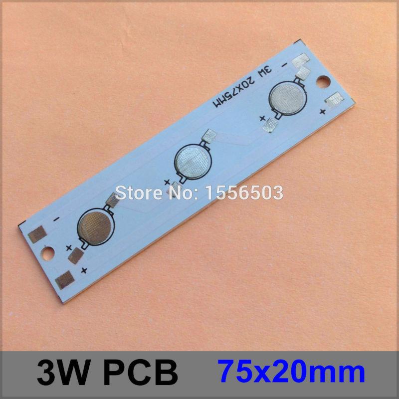100 Pcs/lot LED Aluminum Plate 3W 75*20mm Rectangle LED High Power PCB Plate Circuit Base For 3W LED Lamp(China (Mainland))