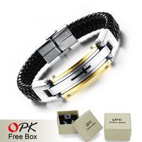 OPK Vintage Leather Wrap Bracelets For Man Fashion Retro Handmade Knitted Bangle Black/Gold Full Steel Cross Men Jewelry PH916