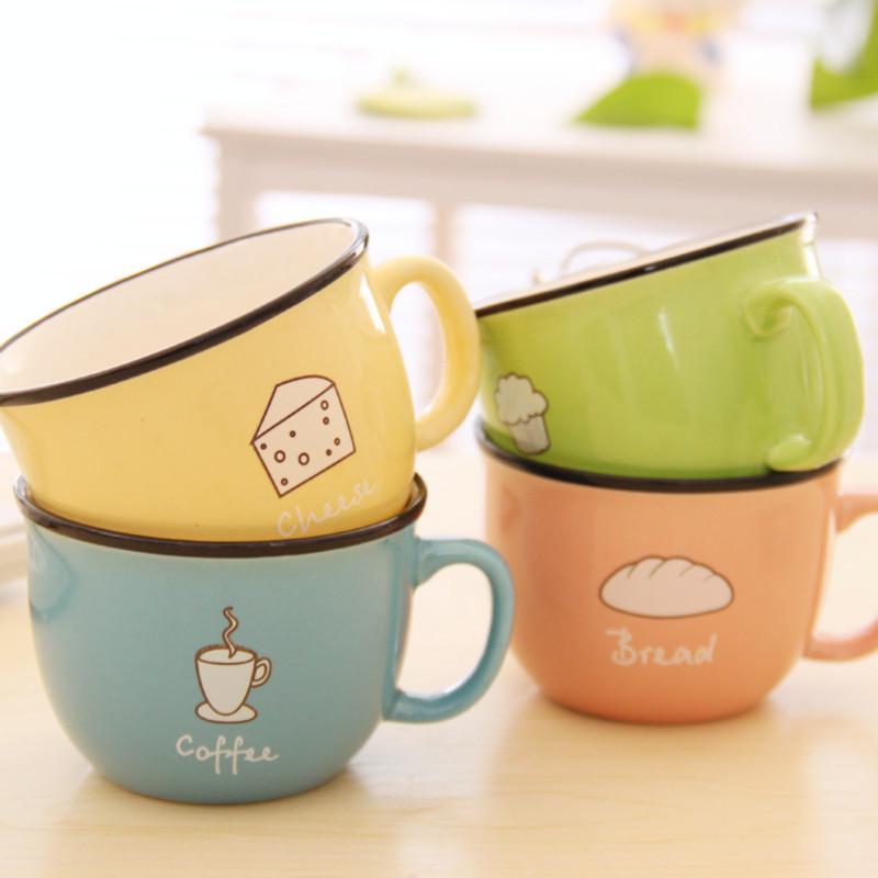 Japanese Personality Lovers Breakfast Milk Cup Zakka Ceramic Thicken Mug Office Home Bar Water Cups Coffee tea Mugs Green Pink(China (Mainland))