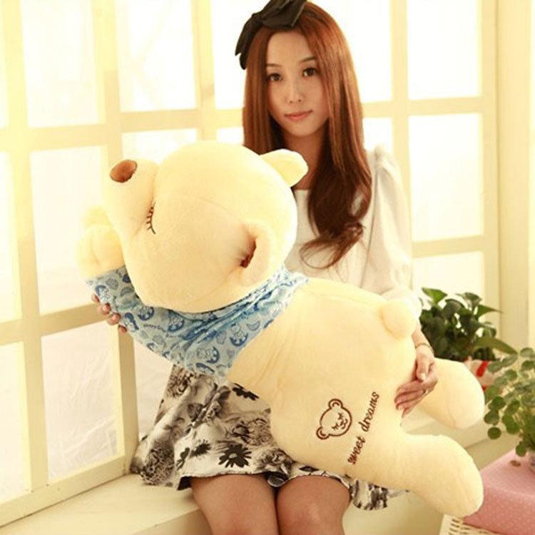 New arrival life size 90cm plush animals sleeping plush teddy bear pp cotton stuffed toys baby cute prone bears free shipping(China (Mainland))