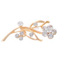 Min. order 9 usd (can mix) New Fashion Flower Design White Rhinestone Pin Wedding Bridal Gold Plated Brooch For Wedding
