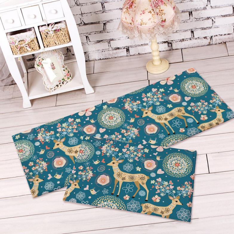 Home decor zakka cute cartoon moose skid mat flannel living room