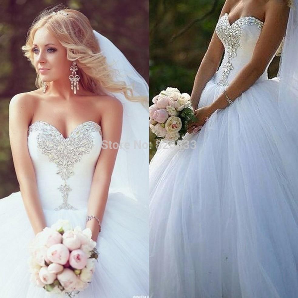 Princess Wedding Dresses Sparkles Sparkle Crystals White Tulle Y Corset