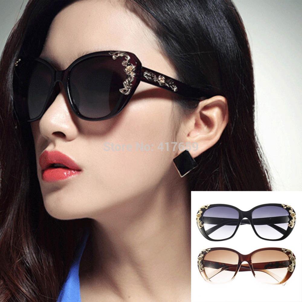 2015 Gold Rose Flower Carving Women Fashion Cat Eye Vintage Sunglasses Glasses(China (Mainland))