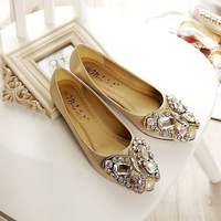 Bowtie and big rhinestones fashion flats for women shoes by factory quality large size EU 33-41