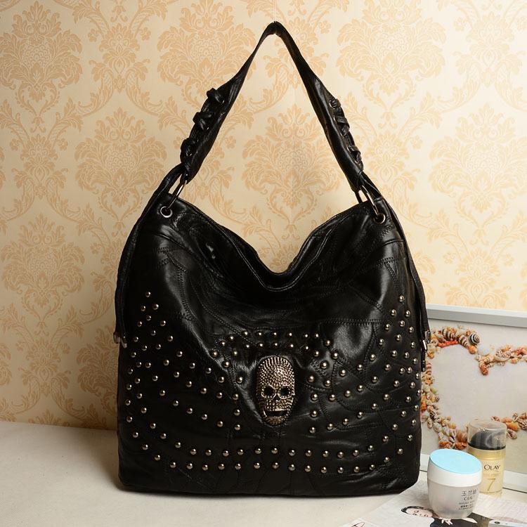 Vintage genuine leather handbags sheepskin leisure bag shoulder bags Ghost fashion large capacity bags women handbags women bag(China (Mainland))