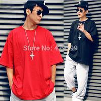 Street hiphop solid color all-match hip-hop hiphop ds male short-sleeve loose plus size 100% cotton t-shirt