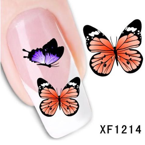 1Pcs Nail Art Water Sticker Nails Beauty Wraps Foil Polish Decals Temporary Tattoos Watermark + Free Shipping (XF1214)(China (Mainland))