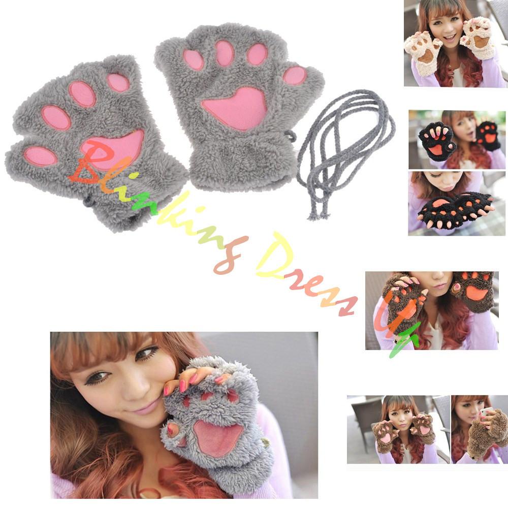 Cute bear paw gloves furry mittens womens warm thick polar fleece half