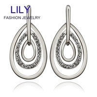 E885 Wholesale 2014 New Bohemian Jewelry Vintage Drop Earrings 18K Real Gold Plated Crystal Earring Women Accessories