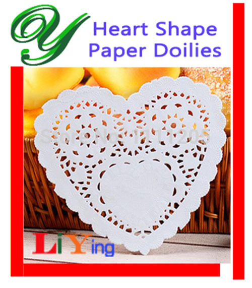 200pc 4''inch Heart Shape Paper Lace Doilies Wedding Valentines Day lovers Coasters romantic Placemat Craft Table Decor gifts(China (Mainland))