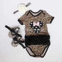 Baby girls 3 Piece Suits Short sleeve Romper +shoes + Headband   Flower pattern  Leopard girls summer Clothing sets Bodysuit