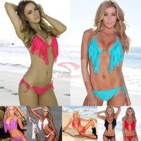 2015 Neoprene Triangle Bikini Set Mesh Neon Color Women Swimsuit Brazilian biquini Swimwear Bathing Suits S-XL