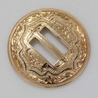 """10pc 1-1/2"""" ( 3.8cm ) Slotted Concho 2-Tone Leathercraft Saddle Tack Belt Gold"""