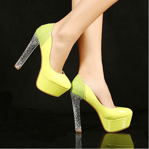 sapatos femininos Womens Glitter Clear Crystal High Heel Platform Pump Club Shoes shoes women US Size 5 6 6.5 7.5 8 S0035(China (Mainland))