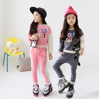 Autumn Children Sports Clothing Set O-neck T-shirt+Harem Pants Letter Printed Kids Clothes Casual Girls Cotton Tracksuit CS480