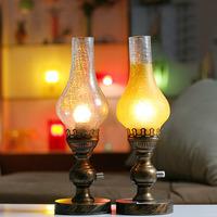 Bronze Retro nostalgic dimmable kerosene lamp bedroom bedside lamp vintage table lamp decoration E27 base