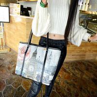 2015 women's handbag shoulder bag female cartoon doodle print fashion handbag casual bags large