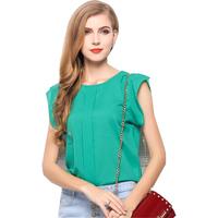 Free Shipping New Chiffon Shirt Women 2015 Round Neck Short Sleeve Lady Blouses Casual Clothing Blusas Femininas Roupas Camisas