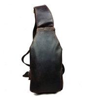 2015 New Vintage Designer 100% Real Genuine Crazy Horse Leather Cowhide Men Chest Messenger Shoulder Crossbody Bag Bags Pack Men