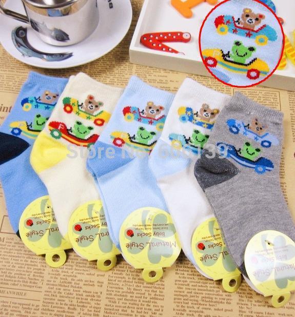 Lovely cartoon Frog baby boys socks 2-4 years old children cotton kids socks 10pair/lot free shipping(China (Mainland))
