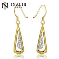 E983-AGraceful Bijoux Tassel Dangle Golden Earrings Big Drop Earrings Austrian Crystal Statement Christmas Gift For Women