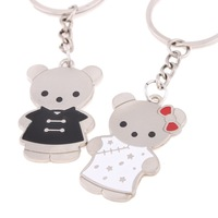 Fashionable Tie Bear Couple Key Chains For Valentine's Day Gift 65707