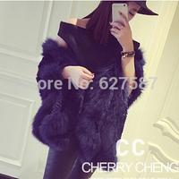 2015 new Winter Ladies' Fashion Genuine Natural Rex Rabbit Fur vest Waistcoat with Fox Fur Collar Female Winter Warm Cape
