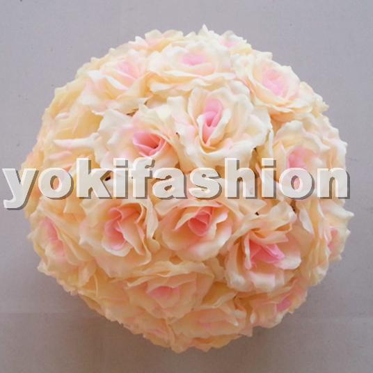 15cm Artificial Silk Roses Kiss Balls Party Wedding Roses Pomander Balls Flowers Kissing Balls Light Peach(China (Mainland))