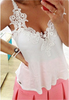 2015 New Tropical Lace Deep Vest Crochet Cropped Top Chiffon Blouse Sexy White Black Yellow Women Backless Tank Tops AY332