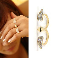 AR204 Fashion Hot Sale Double Finger Open Ring Jewelry Crystal Wings  Gold Heart  Love Rings  For Girls And Wowen