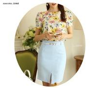 Ladies Elegant work Business Skirt Women Lt Blue Tailorred Bust Skirt  OL