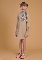 Wholesale  New 2015 Girls dress High quality Summer kids wear Brand Plaid Children Kids dresses Baby girl's grid Fashion dress