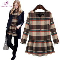 2015 Spring New High Street Fashion Casual Dress Women Long Sleeve Ruffles England Plaid Winter Dresses Vestidos Dropshipping