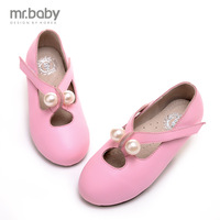 2015 spring children genuine leather shoes girls simulated-pearl casual single shoes kids cowhide soft outsole princess flats