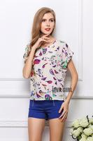 2015 New Women Blouse Bird Flower Printed Chiffon Blouse Fashion Batwing Short Sleeve Women Causal Shirt Top Blusas Femininas