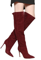 Hot Selling 2015 Designer Suede Over The Knee Boots Pointed toe High Heels Slip-on Style Women Celebrity Shoes Boots Drop Ship