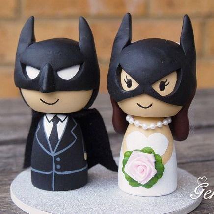 14 CM hechos a mano pastel de bodas Batman y Wonderwoman la novia y el ...