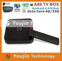 2015 Newest Android TV Box Allwinner A80 Octa Core ARM Cortex A15/A7 4GB/32GB 802.11ac 2.4G/5GHz WiFi 4K*2K H.265 SATA