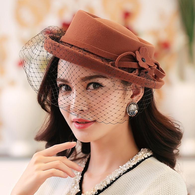 2015 Top Quality 100% Wool Hats For Women And Girls Solid Color Resizable Retro Fashion Lady Hat With Mesh Beret Banquet Cap(China (Mainland))