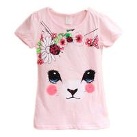 2015 Kids Girls t-shirt cotton short-sleeved t-shirt flowers cartoon casual clothing brand quality free shipping