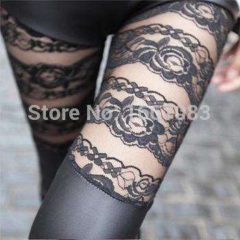 2015 мода весна осень зима сексуальная выдалбливают кружева искусственная кожа черный леггинсы тощий обтягивающих брюках(China (Mainland))