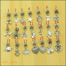 Mix 30pcs Fashion Big Hole Loose Beads European Pendant Beads Fits Pandora Charms Bracelets & pendants diy Jewelry CQ031