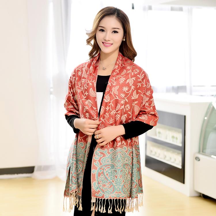 2015 women winter cotton arylic pashmina shawls lady large scarves wraps stole cachecol female national wind silk scarf bufandas(China (Mainland))