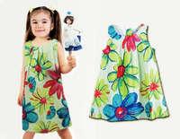 Little girl dress Flower Painting girl dresses new fashion 2015 100% cotton floral dresses children clothing dresses