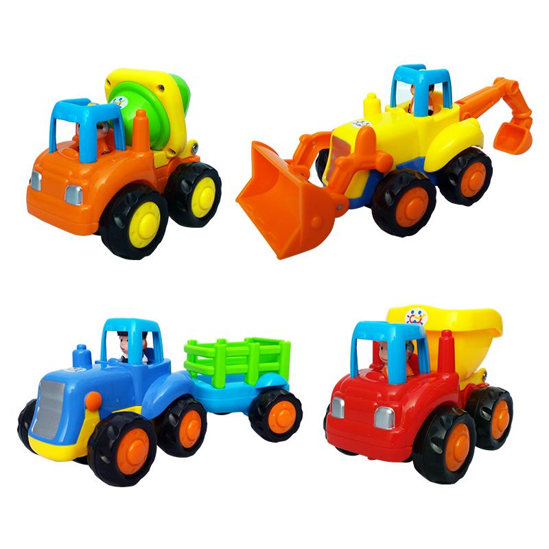 4pcs car toy Tractor Cement mixer Bulldozer Dump Truck Construction vehicles Kids toys Children's toys Inertia car(China (Mainland))