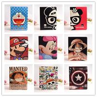 P96 Cartoon Luffy Mickey Mario Captain America Spongebob Panda one piece Hard Leather Cover Case Stand For iPad 5 Air 11373
